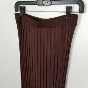 Zara accordion pleat straight brown midi skirt